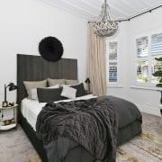 Architect: Allan McIntosh of Buildology Ltd bed frame, bedroom, ceiling, home, interior design, property, real estate, room, window, white