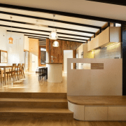 This informal seating area is ideal for impromptu ceiling, floor, flooring, interior design, lobby, wood, orange, brown