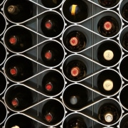 The Echelon modular wine bottle storage system nests black