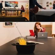 TPB Tech furniture, interior design, product design, table, black, white, brown