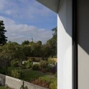 Opposing gardens architecture, estate, facade, home, house, property, real estate, residential area, sky, window, black, gray
