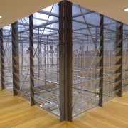 This new headquarters for the European Union Council daylighting, floor, flooring, glass, handrail, structure, wall, gray, brown