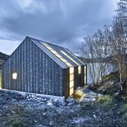 Photo: Pasi Aalto / pasiaalto - Night view. architecture, barn, cottage, home, house, hut, mountain, real estate, reflection, shack, shed, sky, snow, water, winter, teal, blue