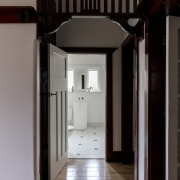 Elements from the original home are plain to architecture, home, house, interior design, gray, black