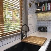 Easy food prep with a breadboard - Easy bathroom, countertop, flooring, interior design, kitchen, room, sink, tile, gray