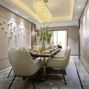 Designer: Li Jianmei Photography by Jianghe Architectural Photography ceiling, dining room, home, interior design, living room, room, table, wall, gray