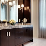 His and hers sinks make the morning routines bathroom, bathroom accessory, bathroom cabinet, cabinetry, countertop, cuisine classique, home, interior design, kitchen, room, sink, gray, black