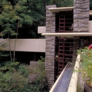 Wright integrated the design of the house with architecture, house, outdoor structure, walkway, black, gray
