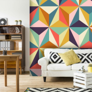 Geometric wallpaper home, interior design, living room, pattern, room, wall, wallpaper, white