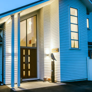 Envira Bevel Back Weatherboards - Two Storey Home blue, building, door, facade, home, house, property, real estate, residential area, siding, window, teal