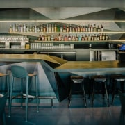 A wider view of the bar area - furniture, interior design, table, black, white