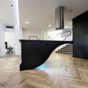 This floating island seems impossible – but it's architecture, countertop, floor, flooring, hardwood, interior design, laminate flooring, loft, product design, tile, wood, wood flooring, gray