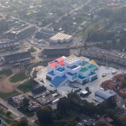 LEGO House – BIG aerial photography, bird's eye view, city, photography, suburb, urban area, gray