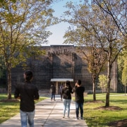 Barrel house architecture, campus, park, pavilion, plant, public space, recreation, tree, brown
