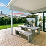 Architect: Allan McIntosh of Buildology Ltd deck, floor, house, interior design, outdoor furniture, outdoor structure, property, real estate, gray