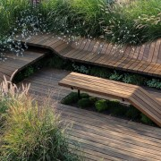 Architect: J.Roc Design bench, deck, grass, outdoor furniture, outdoor structure, path, walkway, wood, gray