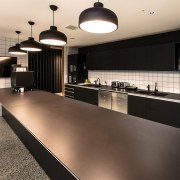 Each level of the office leasing space at countertop, flooring, interior design, kitchen, gray, black