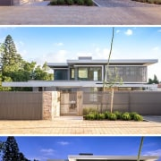 At the front of the house, there's a architecture, elevation, estate, facade, home, house, property, real estate, residential area, roof, sky, gray