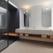Create a luxury shower for your bathroom bathroom, bathroom accessory, floor, flooring, interior design, room, sink, gray