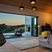 Views out to the bush from the main ceiling, estate, home, house, interior design, living room, real estate, brown, gray