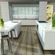 The Echelon modular wine storage system makes it countertop, furniture, interior design, kitchen, table, white, gray