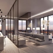 A lounge/cafe has views of Melbourne - A ceiling, interior design, living room, lobby, gray