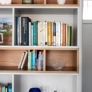 A thoughtful integrated bookshelf unit bookcase, furniture, shelf, shelving, gray