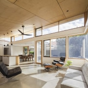 It's a warm, inviting living room - It's architecture, ceiling, daylighting, floor, house, interior design, living room, lobby, real estate, window, gray, brown