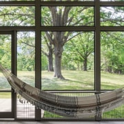 An indoor hammock means you can enjoy the tree, window, green, black