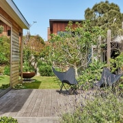 Architect: Kim Irons Photography by Nikole Ramsay backyard, cottage, courtyard, estate, garden, grass, home, house, outdoor structure, plant, property, real estate, tree, yard, brown
