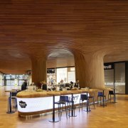 This bar area is almost subterranean - This architecture, ceiling, flooring, function hall, interior design, lobby, brown
