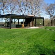 The Glass House by Philip Johnson - The architecture, cottage, estate, grass, home, house, land lot, landscape, lawn, pavilion, plant, property, real estate, yard, green