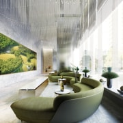 Victoria One is green – inside and out architecture, furniture, interior design, living room, lobby, table, white, gray