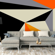 Geometric wallpaper angle, couch, furniture, interior design, living room, product design, table, wall, gray, black