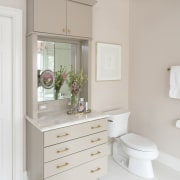 A custom vanity with a telescoping mirror means bathroom, bathroom accessory, bathroom cabinet, bathroom sink, chest of drawers, drawer, floor, home, interior design, plumbing fixture, product, room, shelf, sink, tap, gray