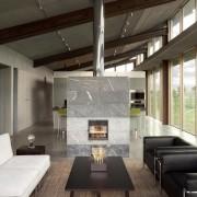 Architect: Olson Kundig Architects  architecture, ceiling, daylighting, floor, flooring, house, interior design, living room, loft, table, wood flooring, black, gray