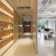 Another view of the hallway ceiling, floor, flooring, interior design, orange, gray, brown