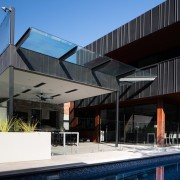 Architect: Damon HillsPhotography by Nic Granleese architecture, building, facade, home, house, property, real estate, roof, black
