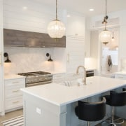 The work of an experienced designer - The cabinetry, countertop, cuisine classique, floor, flooring, home, interior design, kitchen, room, tile, white