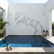 Given the climate, pools were essential to the bathtub, estate, property, swimming pool, white, gray
