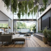 Treehouse at Parkside Walk – MJA Studio - architecture, courtyard, house, interior design, living room, lobby, real estate, gray, black