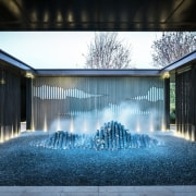 Vanke Park Mansion 'True Love' – FLOscape Landscape architecture, facade, home, house, light, lighting, reflection, residential area, sunlight, water, water feature, black