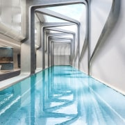 Mayfair Residential Tower – Zaha Hadid Architects architecture, daylighting, floor, property, real estate, swimming pool, white, gray