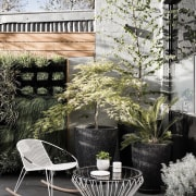 Architect: Technē Architecture + Interior DesignPhotography by architecture, backyard, chair, courtyard, furniture, home, house, interior design, outdoor furniture, outdoor structure, patio, table, gray, white, black