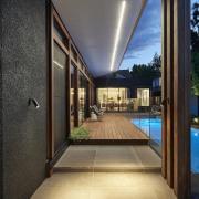 A light strip serves as both an interesting architecture, condominium, estate, home, house, interior design, lighting, property, real estate, window, black