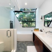 There are a number of interesting elements in bathroom, home, interior design, room, window, gray