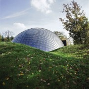 Forestry Branch – Marche-en-Famenne architecture, biome, building, dome, grass, sky, tree, white, green