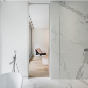 Step from the master bedroom into the marble angle, architecture, bathroom, floor, glass, house, interior design, plumbing fixture, product design, tap, tile, wall, gray, white