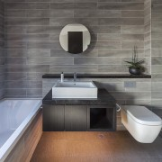 Architect: mcmahon and nerlich architectsPhotography by superk architecture, bathroom, countertop, floor, flooring, interior design, product design, sink, tap, tile, wall, gray
