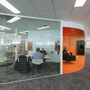 Hard to miss in the new Z Energy architecture, ceiling, glass, institution, interior design, office, gray
